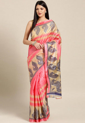 Printed Bhagalpuri Art Silk Saree in Dark Peach