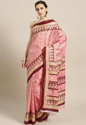 Printed Bhagalpuri Art Silk Saree in Light Pink