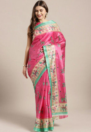 Printed Bhagalpuri Art Silk Saree in Pink