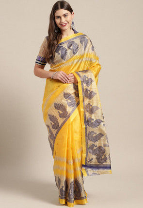 Printed Bhagalpuri Art Silk Saree in Yellow