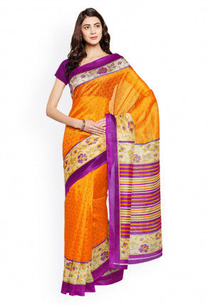 Printed Bhagalpuri Chanderi Silk Saree in Mustard