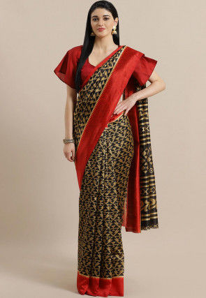 Printed Bhagalpuri Cotton Silk Saree in Black and Beige