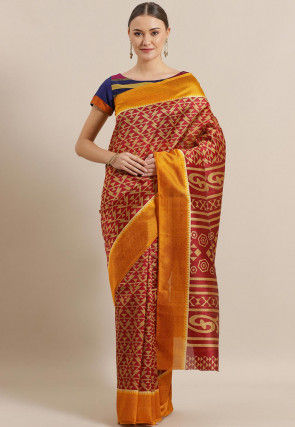 Printed Bhagalpuri Cotton Silk Saree in Maroon and Beige