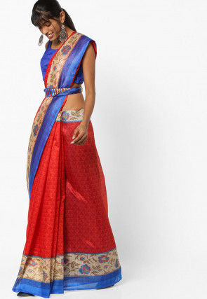 Printed Bhagalpuri Cotton Silk Saree in Red