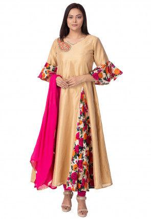Printed Bhagalpuri Silk A Line Suit in Beige