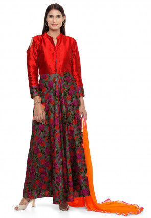 Printed Bhagalpuri Silk Abaya Style Suit in Red and Grey