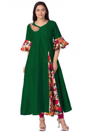Printed Bhagalpuri Silk Flared Kurta in Dark Green