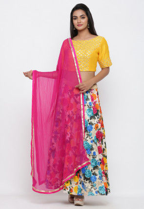 Printed Bhagalpuri Silk Lehenga in Multicolor