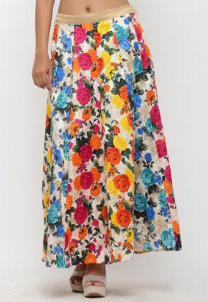 Printed Bhagalpuri Silk Long Skirt in Multicolor