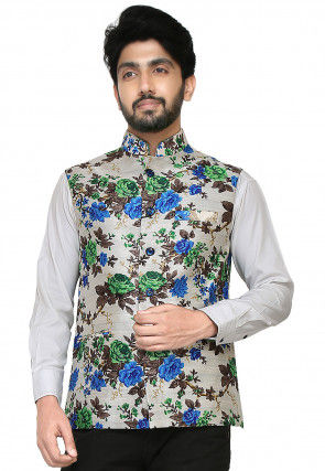 Printed Bhagalpuri Silk Nehru Jacket in White and Multicolor