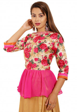 Printed Bhagalpuri Silk Peplum Style Top in Beige and Pink