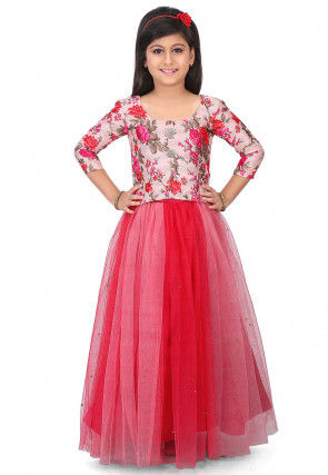 Printed Bhagalpuri Silk Top with Skirt in Light Pink