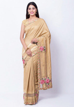 Printed Border Art Silk Saree in Beige
