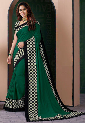 Printed Border Art Silk Saree in Dark Green