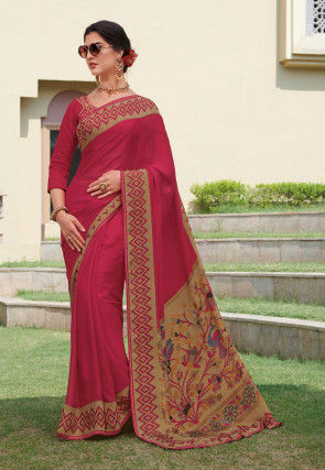 Printed Border Chiffon Brasso Saree in Pink