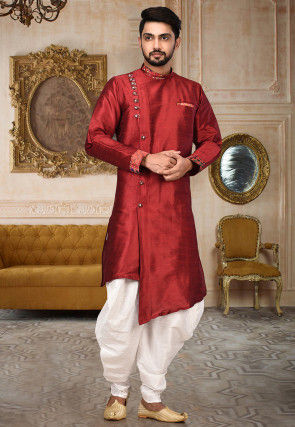 Printed Border Dupion Silk Sherwani in Maroon