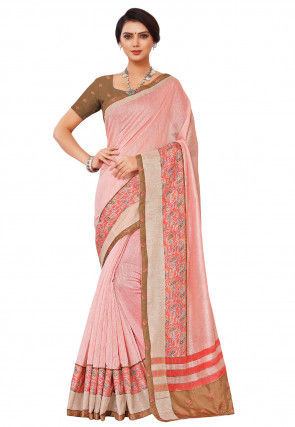 Printed Border Linen Cotton Saree in Peach