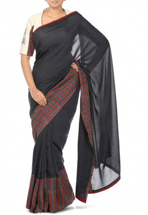 Printed Border Muslin Silk Saree in Black
