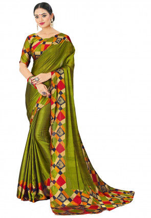 Printed Border Satin Chiffon Saree in Olive Green