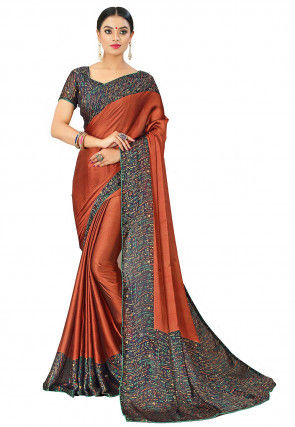 Printed Border Satin Chiffon Saree in Rust