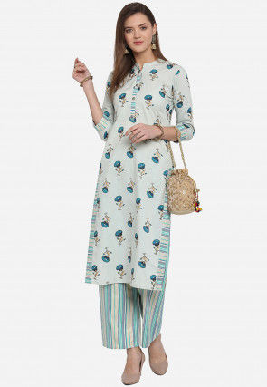 Printed Cambric Cotton Straight Kurta Set in Light Blue