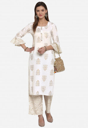Printed Cambric Cotton Straight Kurta Set in Off White
