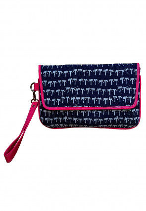 Printed Canvas Flap Clutch Bag in Blue