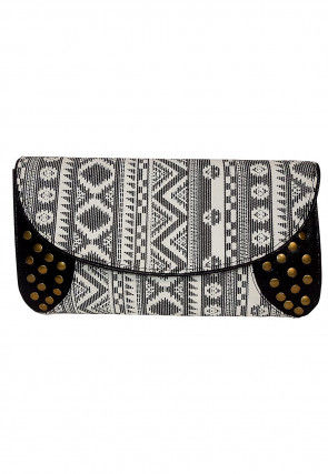 Printed Canvas Flap Clutch Bag in White and Black