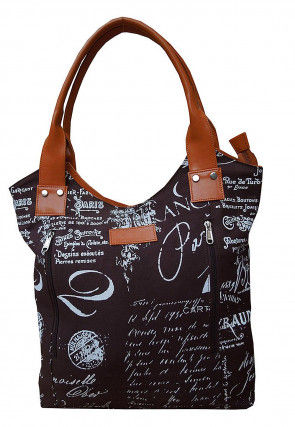 Printed Canvas Hand Bag in Dark Brown