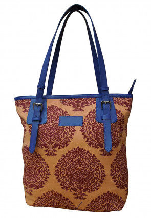 Printed Canvas Hand Bag in Light Orange