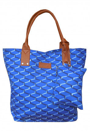 Printed Canvas Handbag in Blue