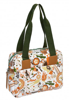 Printed Canvas Handbag in Off White