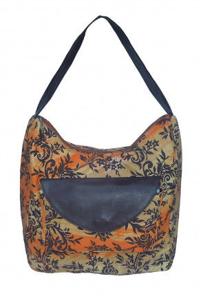 Printed Canvas Hobo Hand Bag in Beige and Orange