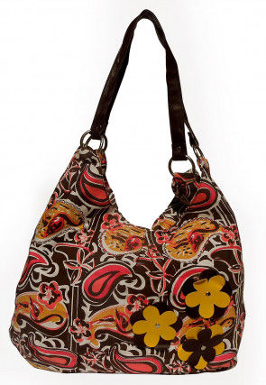Printed Canvas Hobo Hand Bag in Multicolor