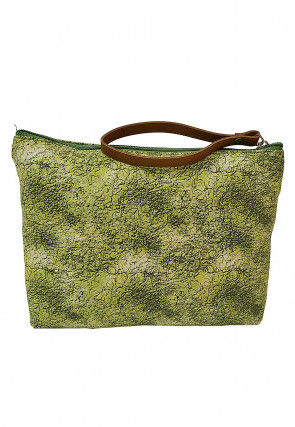 Printed Canvas  Pouch in Olive Green