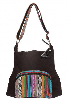 Printed Canvas Shoulder Bag in Brown