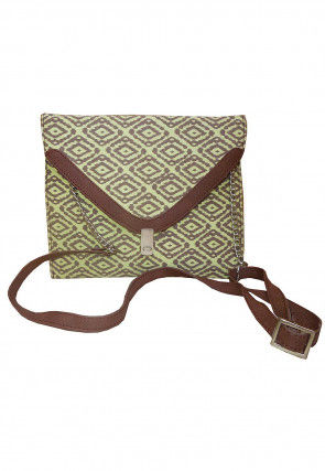 Printed Canvas Sling Bag in Light Green