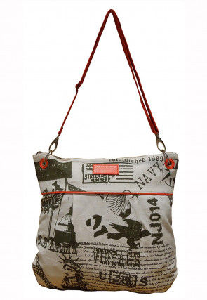 Printed Canvas Sling Bag in Off White