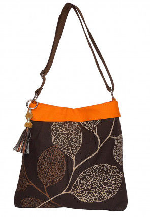 Printed Canvas Tote Bag in Brown