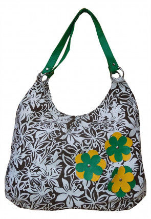 Printed Canvas Tote Bag in Light Brown and White