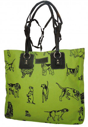 Printed Canvas Tote Bag in Light Green