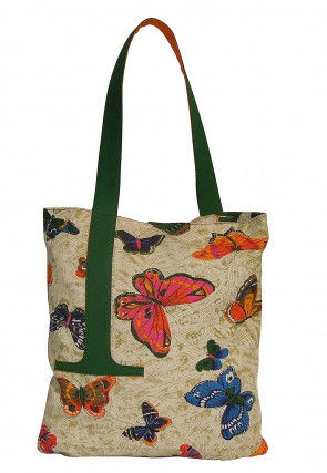 Printed Canvas Tote Bag in Light Olive Green