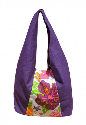 Printed Canvas Tote Bag in Purple