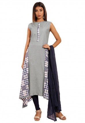 Printed Chambray A Line Suit in Light Grey
