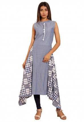 Printed Chambray Side Drop Kurta in Sky Blue
