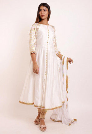 Woven Cotton Silk Anarkali Suit in Off White