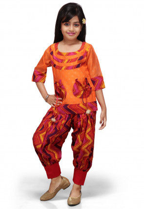 Printed Chanderi Art Silk Kameez with Jasmine Pant in Orange