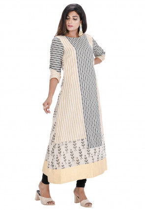 Printed Chanderi Cotton A Line Kurta in Off White