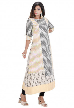 Printed Chanderi Cotton A Line Kurta Set in Off White