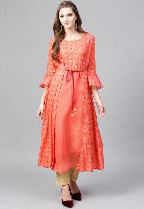 Printed Chanderi Cotton Jacket Style Kurta in Peach
